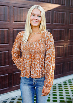Rust Floral Smocked Top