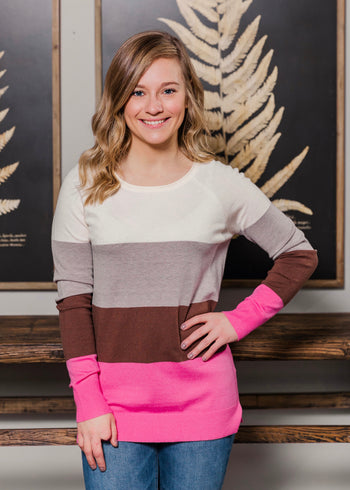 Think Pink Colorblock Pullover