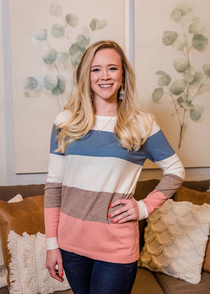 Early Spring Striped Pullover - Blue & Peach