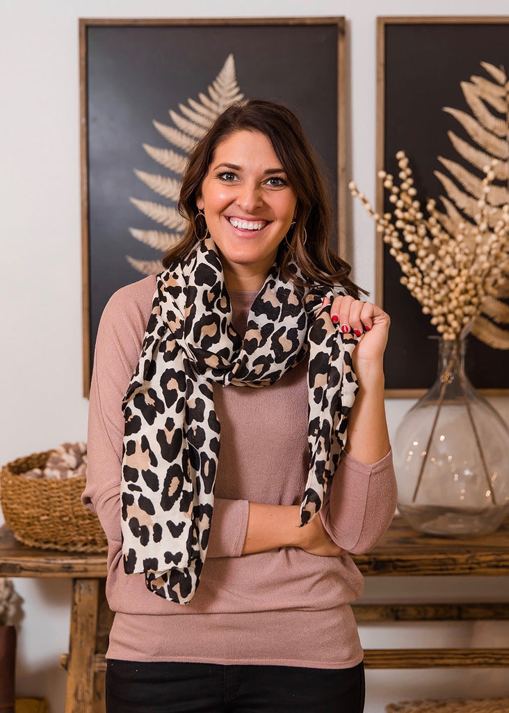 Cream and Beige Leopard Scarf