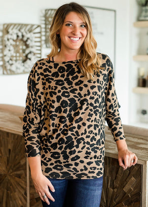 On or Off The Shoulder Animal Print Top