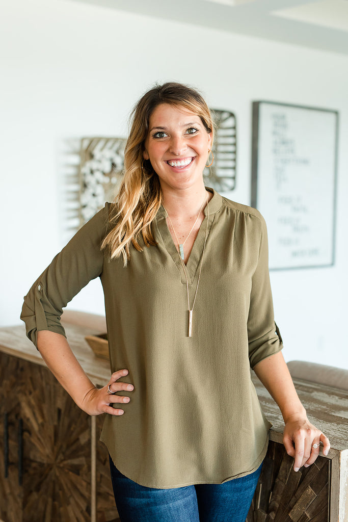 Essential Vneck Chiffon Top - Olive