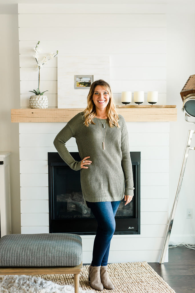 Light Weight Sweater Tunic - Dusty Olive