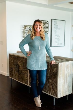 Light Weight Sweater Tunic - Dusty Teal