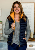 Reversible Puffer Vest - Navy and Gold