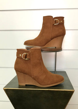 Rachel Buckle Bootie - Maple Suede