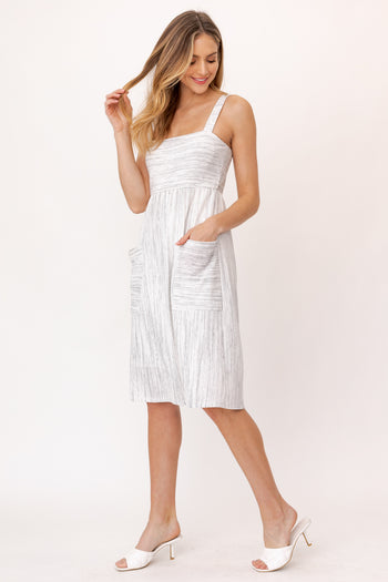 Gray Striped Pocket Sundress