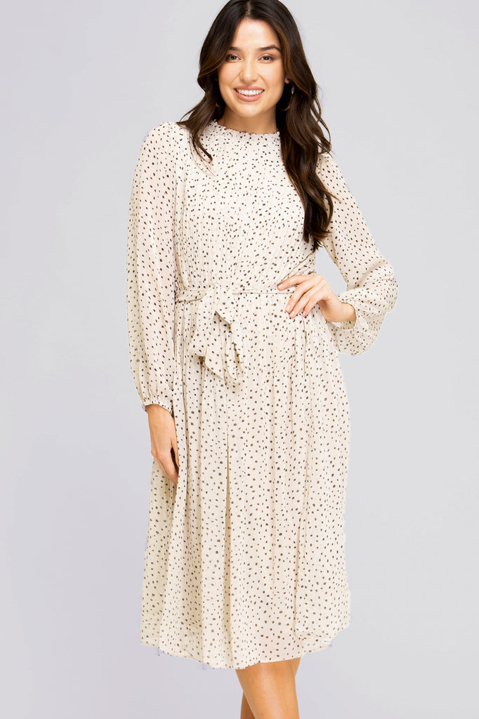 Dreaming Of A Cream Dotted Midi Dress
