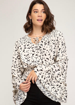 Cream Printed Smock Flare Sleeve Top