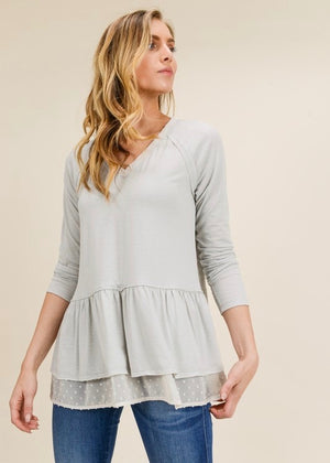 Dove Gray Layered Top