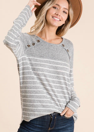 Gray & White Striped Button Pullover