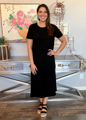 Black Side Slit Tee Dress