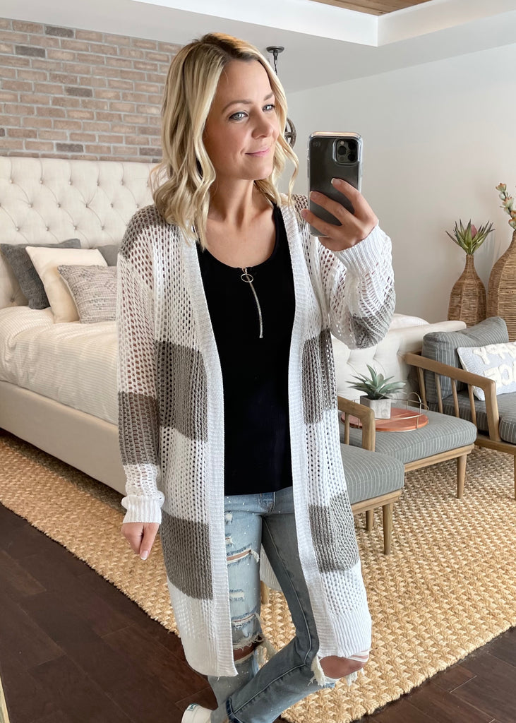 Striped Open Knit Cardigans - 2 Colors!