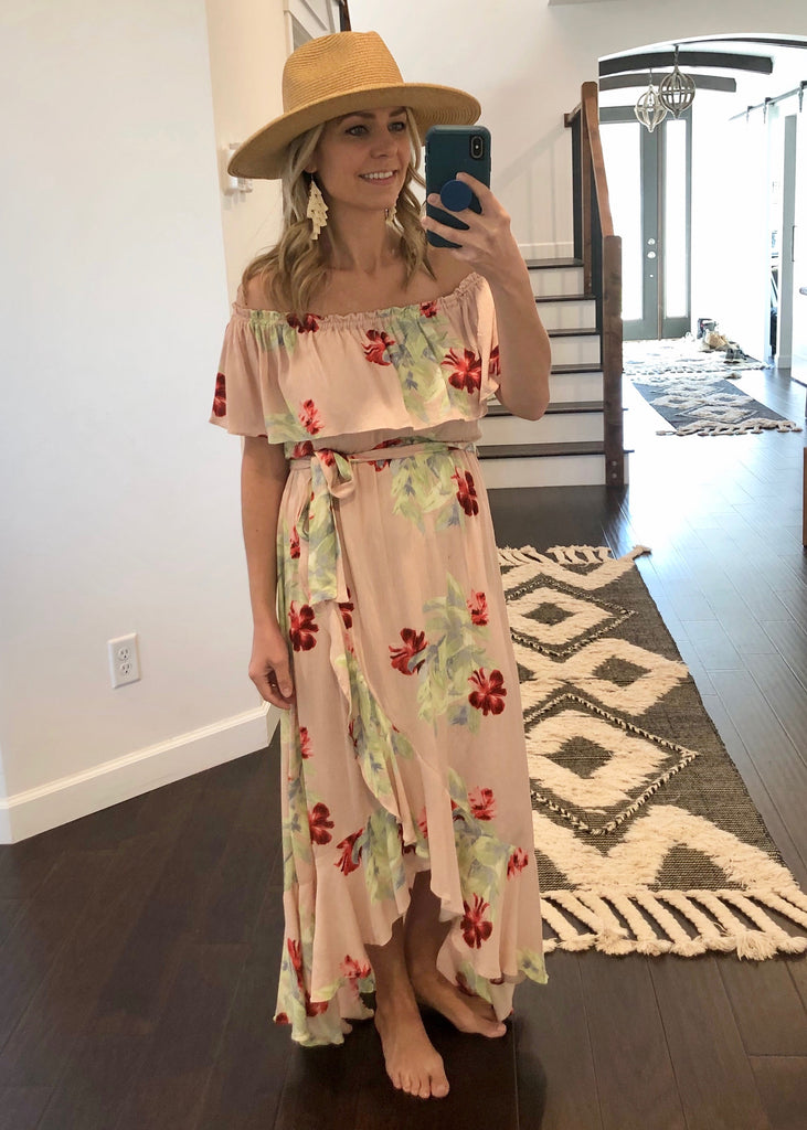 Blush Floral Off The Shoulder Maxi