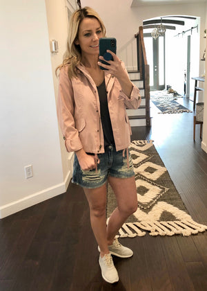 Soft Pink Cropped Jacket