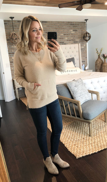 Taupe Soft Brushed Pocket Pullover
