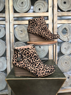 Leopard Blowfish Wedge Booties