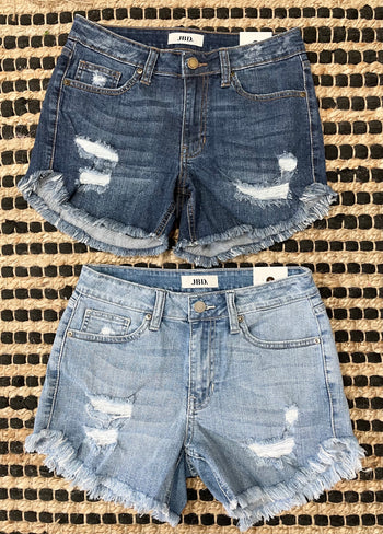 Just Black Denim Distressed Frayed Hem Shorts - 2 Colors!