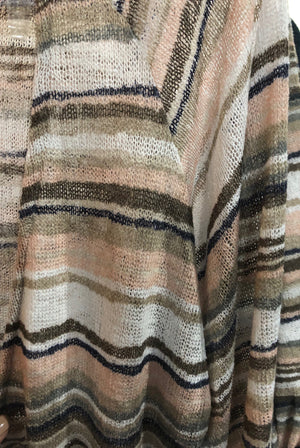 Neutral Striped Light Weight Duster
