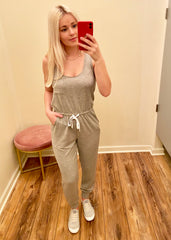 Gray Basic Pocket Jogger Jumpsuit