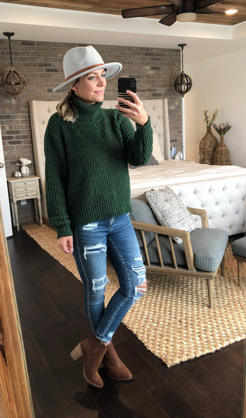 Hunter Green Chenille Turtleneck Sweater