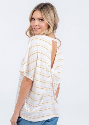 Ivory Striped Twist Back Top