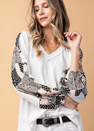 White Waffle Patterned Sleeve Top