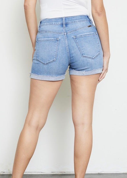 Kan Can High Rise Button Fly Destructed Cuffed Shorts