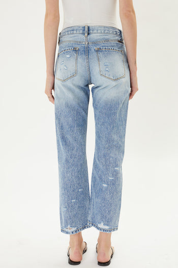 Kan Can Distressed Cropped Straight Jeans