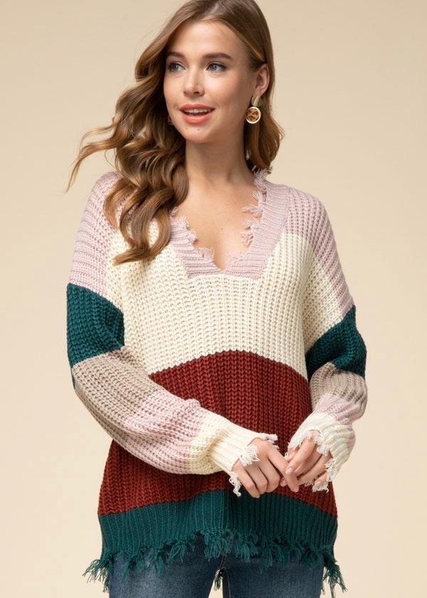 Striped Destructed Sweater