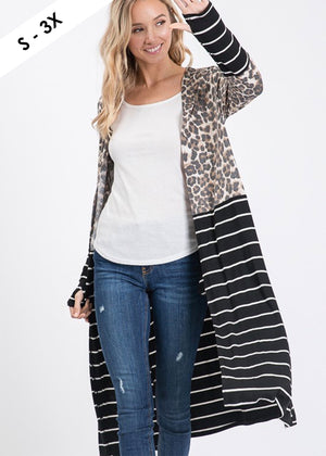 Leopard and Striped Thumbhole Duster