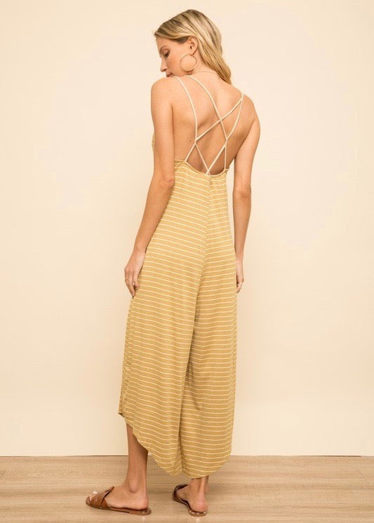 Mustard Strappy Back Jumpsuit