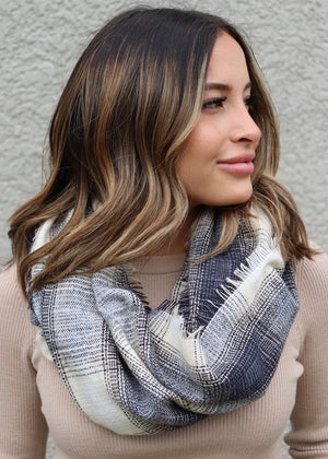 Navy, Black, and Cream Plaid Infinity Scarf
