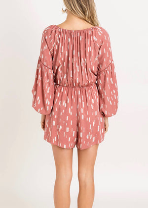 Dusty Mauve Printed Romper