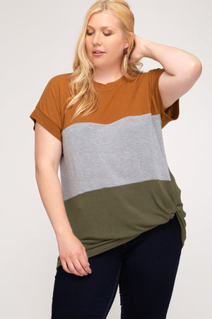 Color Block Twist Top - Caramel