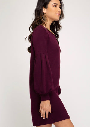 Plum Puffy Sleeve Dress