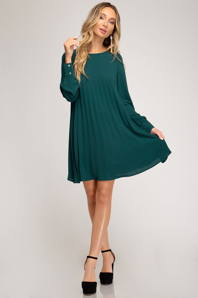 Evergreen Pleated Chiffon Dress