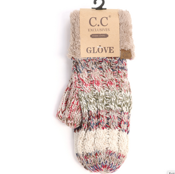 C.C Fuzzy Lined Multi Color Mittens