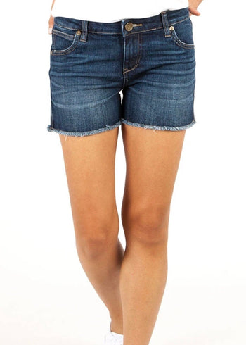 Kut From The Kloth Mid Rise Fray Gidget Shorts