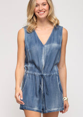 Washed Denim Cinch Waist Romper