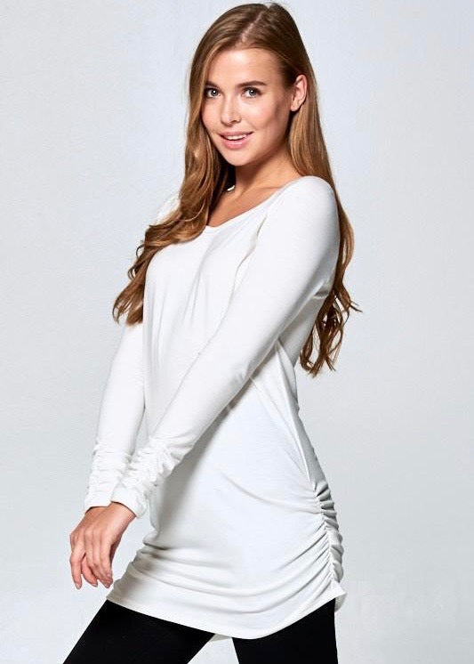 Side Ruched Tunic Top - Ivory
