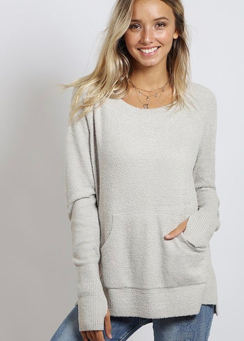 Silver Gray Soft Brushed Thumbhole Pocket Pullover