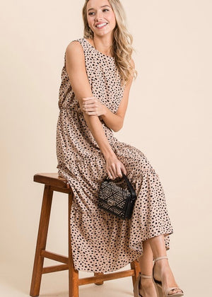 Taupe Leopard Midi Dress