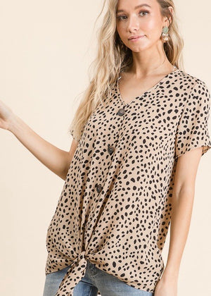 Taupe Pattern Button Tie Top