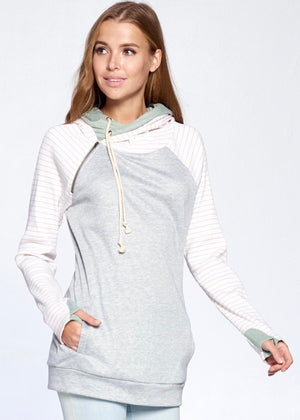 Thumbhole Hoodie - Gray & Pink Stripes