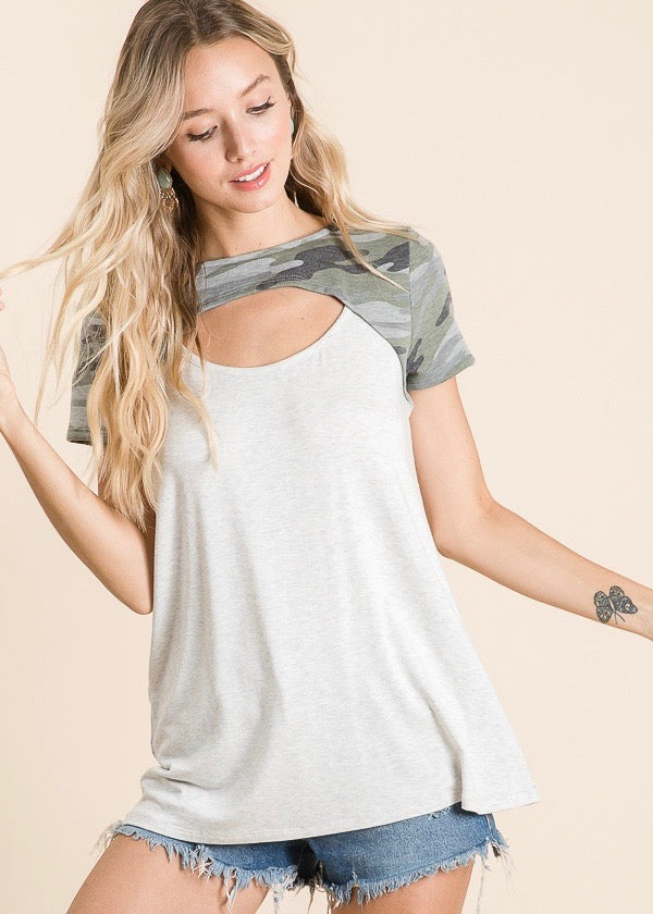 Camo Cut Out Top