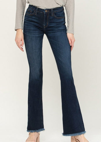 Flying Monkey High Rise Dark Wash Frayed Flare Jeans