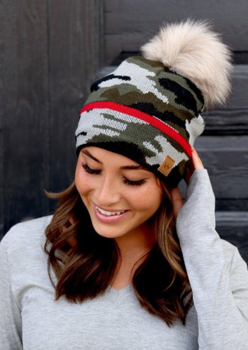 Camo & Red Stripe Pom Hat