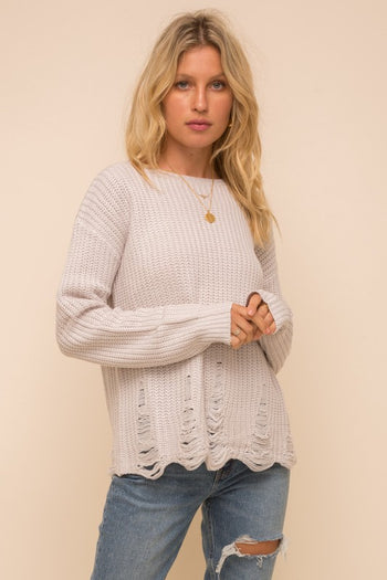 Almond Distressed Sweater