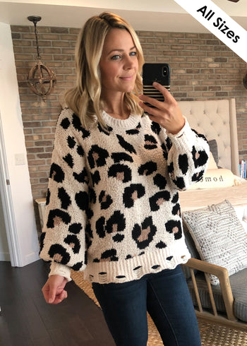 Destructed Hem Animal Sweater